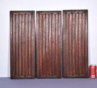 *Set of Three Antique Gothic Revival Solid Oak Wood Panels w/Linen Fold Carvings