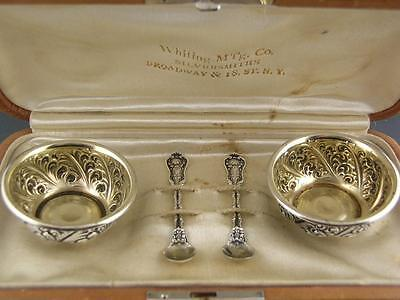 Sterling WHITING Salt Cellars & Spoons IMPERIAL QUEEN 1893  ~no mono ~w/ case
