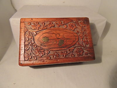 Vintage hand carved wood trinket box with brass Inlay red velvet