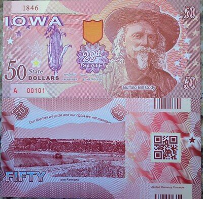 US STATES IOWA 29th STATE 2016 COMMEMORATIVE POLYMER NOTE FROM A USA SELLER