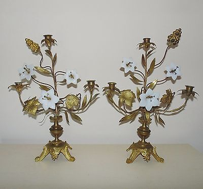 Pair Antique French Candelabra Girandoles Gilt Metal Glass Flowers Candle Holder