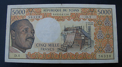 Chad ND 1974 5000 Francs Note P4