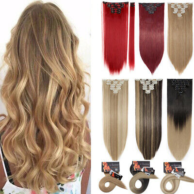 Extra Long Full Head Clip in Hair Extensions Brown Blonde Straight 145G Thick AU