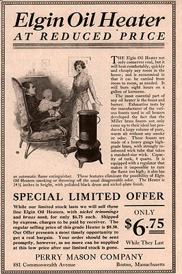 Early 1900 's Ad Elgin Oil Heater