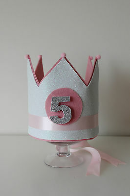 girl's birthday glitter white/pink crown, Interchangable numbers (1-5) pom poms