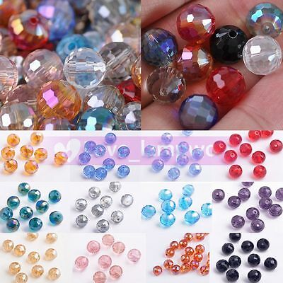10mm 96facets Charms  Round Ball Crystal Glass Faceted Loose Spacer Beads Lot