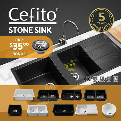 Cefito Granite Kitchen Sink Stone Stainless Steel Under/Topmount Laundry Black