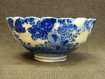 Early Meiji Period Footed Japanese Porcelain Flo Blue Tea Bowl Scalloped Edge