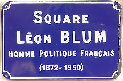 Old French enamel steel street name sign plaque Rue Leon Blum Rennes Brittany