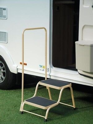Quest Double Caravan Step with Handrail | Beige
