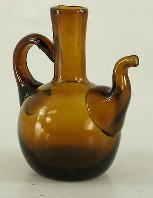 Vintage Hand Blown BROWN Art Glass Pitcher With Spout for Oil or Vinegar