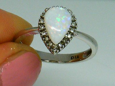 9ct Gold 9k Gold  Opal & Diamond Cluster ring size L