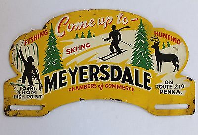 Rare Myersdale Pa. Advertising License Plate Topper - Ski-Ing-Hunting-Fishing