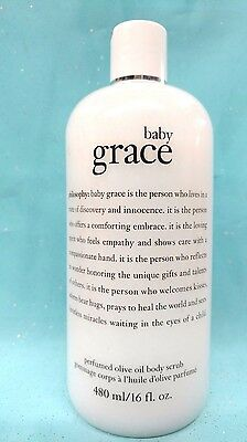 PHILOSOPHY ~ BABY GRACE ~ Perfumed OLIVE OIL BODY SCRUB Exfoliate 16 oz SEALED!!