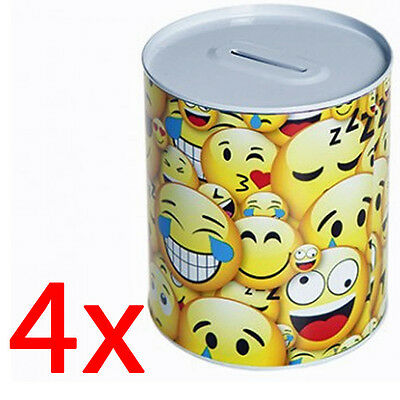 Set Of 4 Emoji Money Box Piggy Bank Icons Savings Coins Gift Funds Notes Funny