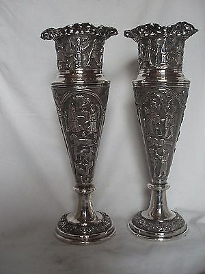 Pr Middle Eastern Vases Sterling Silver Circa 1910