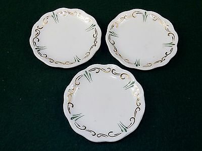 Vintage Porcelain Butter Pats, Set of 3 ~ Green & Gold Accents, No Mark, #BP-05