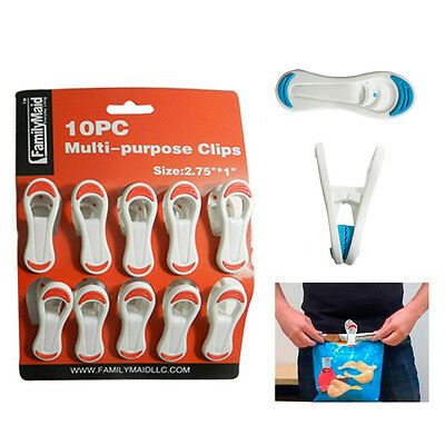 10 Kitchen Chip Snack Food Storage Sealing Bag Clips Clamps Multi Purpose Craft