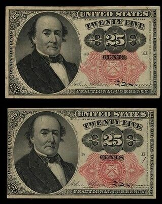 ICOIN - Two Series 1874 Twenty Five Cent Fractional Notes from an estate