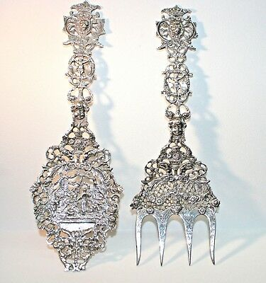 Vintage Dutch Silver 835/1000 Pure Baroque Serving Fork And Spoon Set