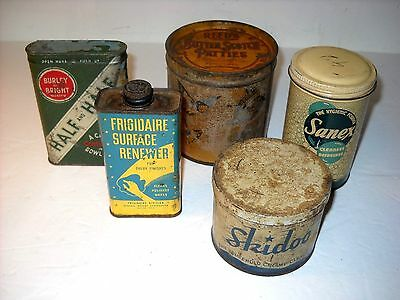 Lot Of 5 Vintage Country Store Advertising Tins