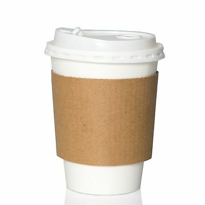 100 Pack - 12 oz To Go Coffee Cups with Sleeves & Lids - Disposable & Recycla...