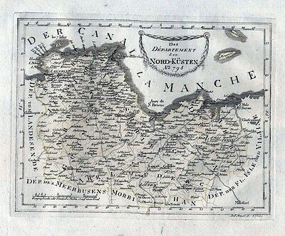 1780 - Cotes-d'Armor Saint-Brieuc Guingamp Karte Reilly carte gravure France map