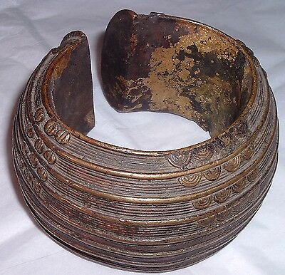 GENUINE Authentic Antique Congo Kuba Bronze Crescent Currency Bracelet Africa