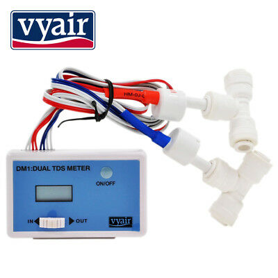 "VYAIR HM Digital DM-1 Dual Probe In-Line TDS Meter with 1/4"" Pipe Connections"