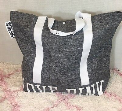 NWT Victoria's Secret ~pink~ Graphic Grey Washed Canvas Tote Bag Large