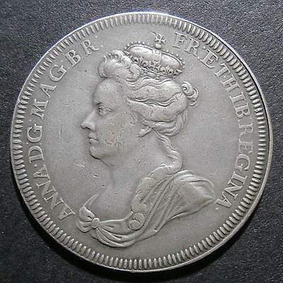 Silver medallion - Anne 1702 Accession by Croker - 36mm Eimer#388
