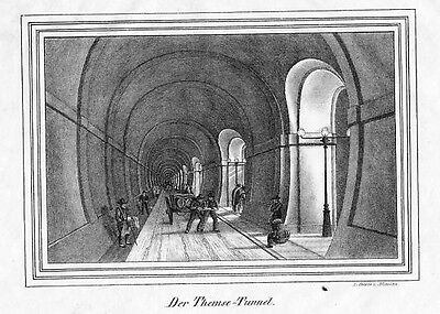 1830  Thames Tunnel London Themse Original Lithographie