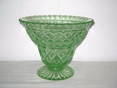 Lge Art Deco Circa 1930's Depression Green Glass Vase 15cm High 19cm Wide At Top