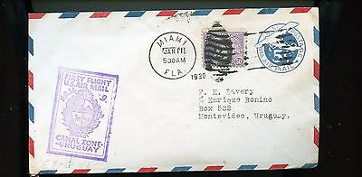 1930 USA First Flight Air Mail Cover Miami to Uruguay BL727