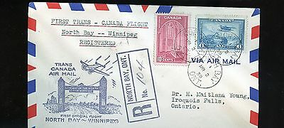 1939 Canada Air Mail Registered First Flight Cover North Bay - Winnipeg  BL762