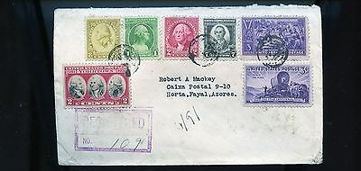 1947 Registered Cover from USA Maryland to Azores BL754