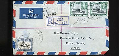 1950 Registered Cover from Uganda Kenya to Azores BL749