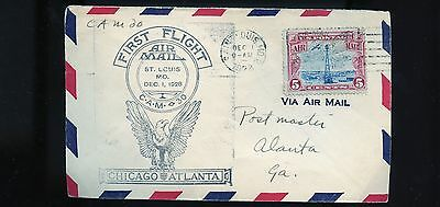 1928 USA First Flight Air Mail Cover  Chicago - Atlanta  BL755