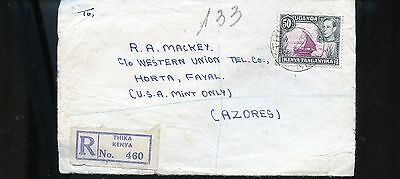 1948 Registered Cover from Uganda to Azores BL748