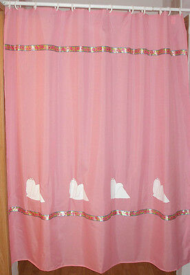 Maltese Dog Shower Curtain Pink with white dogs and flower ribbon SALE