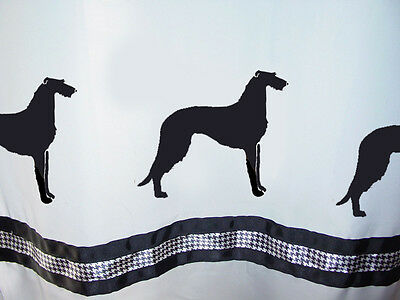 Scottish Deerhound Dog Shower Curtain White with black SALE