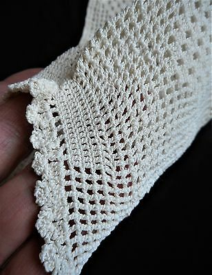 Edwardian Vtg Antique Hand Crocheted Crochet Lace Dress Collar Sleeves Top Yolk