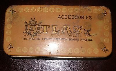 """Antique Atlas Deluxe Sewing Machine Parts Box Lithograph Tin Metal 6 ¼"""" """"x 3"""""""
