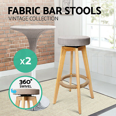 2x Wooden Bar Stools Swivel Padded Fabric Dining Chairs Kitchen TAUPE 1569
