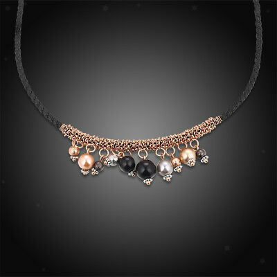 Fashion Rose Gold Chain Lots Colorful Beads Elegant Charming Necklace 1Piece