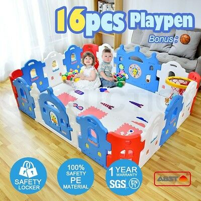 16-Sided Baby Playpen Castle-shaped Safety Gate Baby Room With Basketball Set