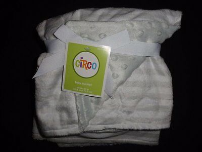 NWT Circo Gray/White Striped Velboa Minky Baby Blanket Unisex Boy Girl