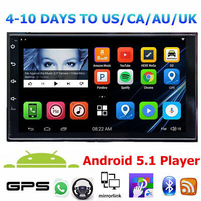 "7""2 DIN Quad Core Android 5.1 MP5 Player 3G WIFI Bluetooth Car Stereo GPS Nav L"