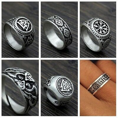 Viking Compass Valknut runic Odin Symbol Norse Nordic Pirate Ancient silver Ring