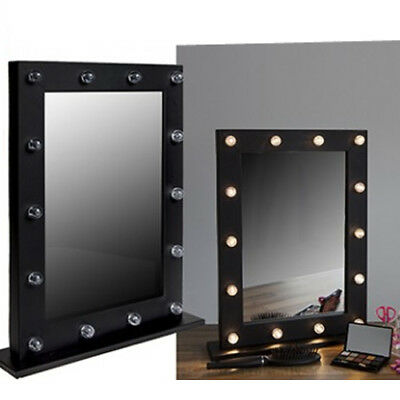 Light Up Dressing Table Hollywood Mirror Led Bulbs Make Up Vanity 31Cm Wooden